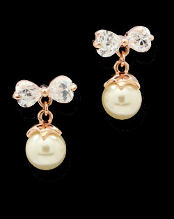 Solpresa Elegent Sweet Ribbon Rose Gold Crystal Pearl Earrings