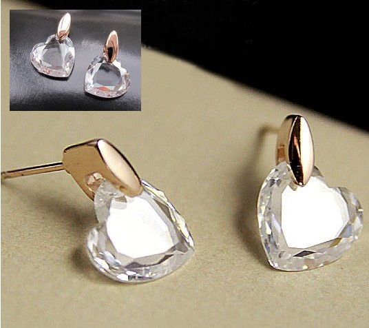 Solpresa Swarovski Transparent Crystal Rose Gold Plated Love Earrings