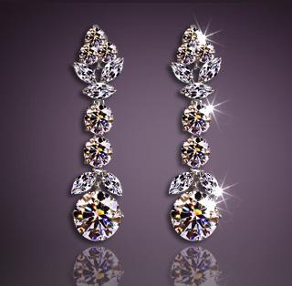 Solpresa Luxury Platinum Silver Austrian Crystal Diamond Earrings