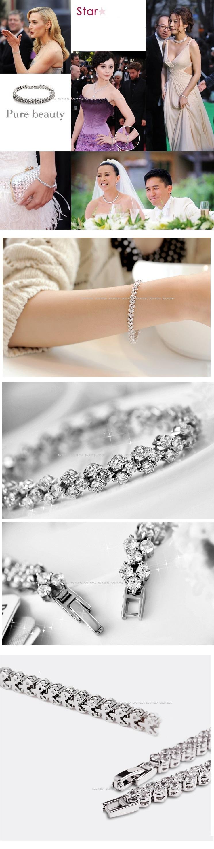 Solpresa Elegant White Rhodium Diamond Roman Bracelet
