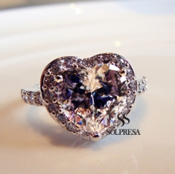 Solpresa One Karat Zircon Crystal Diamond Engagement Ring SMALL Size US5