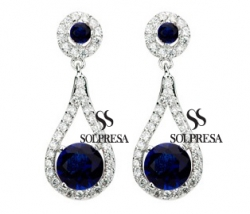 SALES Launching Price Solpresa Luxurious Roman Design Earrings BLUE