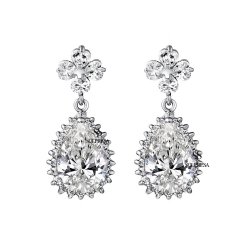SALES Launching Price Solpresa Flowers Zircon Bridal Dinner Earrings